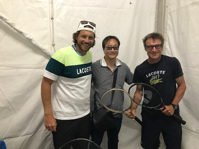 Wilander on Wheels COO Camerson Lickle (left), Donnay CEO Jerry Choe, and the legendary Mats Wilander backstage at the Connecticut Open